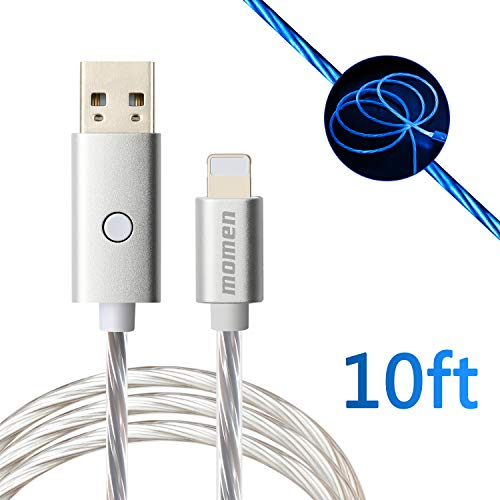 (Fast Charge Cable 10ft, USB Charging Cable Compatible fo Phone X/8/8 Plus/7 Plus/7/6s Plus/6s/6 Plus/6/5s/5c/5/Pad/Pod, momen Visible Flowing LED Charging Cable with Switch Button (Blue Light))