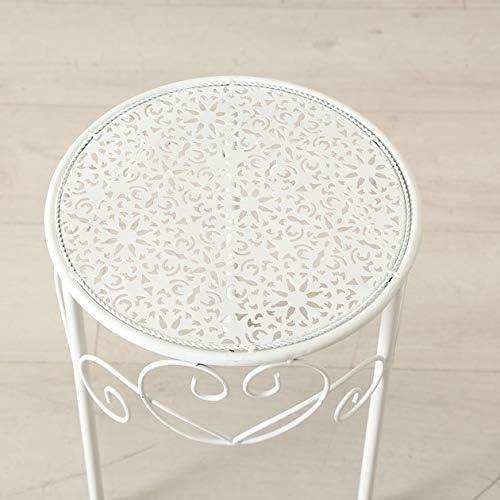 Gro/ß Tavolino in metallo bianco per telefono o piante bianco Metallo Posta 28 x 28 x 38 cm