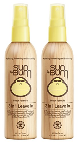 Sun Bum 3 In 1 Leave In Hair Conditioning Treatment, 2 Pack (4 Oz) (Best Leave In Conditioner For Beach)