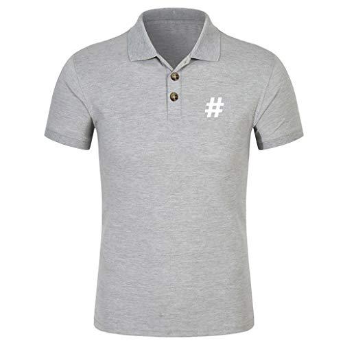 Beautyfine Short Sleeve Printed Muscle Tee Men Spring Summer Slim Fit T-Shirt Top Blouse ()