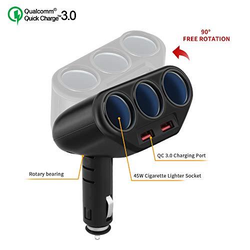 3 Socket Cigarette Lighter Splitter, Rocketek 2-Port USB Quick Charge 3.0 Car Charger 120W 12V/24V Car Power DC Outlet Adapter Cigarette Lighter Adapter for CellPhone/GPS/DashCam - Dc Socket Adapter