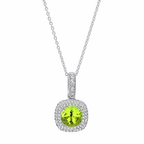 Dazzlingrock Collection 14K 6 MM Round Peridot & White Diamond Ladies Double Halo Pendant, White Gold
