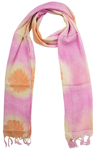 (KNIT SILK Women's Pure Silk Abstract Print Scarf (Pink, 36 inches x 36 inches, Pack of 1))