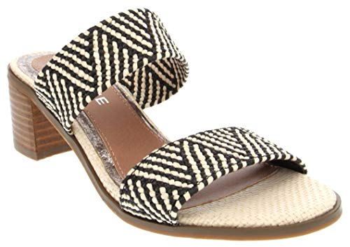 Rampage Women's Hatty Heeled Two Band Slide Sandal, Natural Black Raffia 7.5 M US