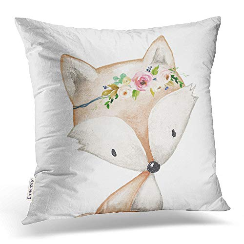 Accrocn Throw Pillow Covers Retro Tribal Popular Boho Fox Woodland Baby Girl Nursery Floral Pillowcases Polyester 18 x 18 Inch Cushion Decorative Pillowcase Square With Hidden Zipper Home Sofa