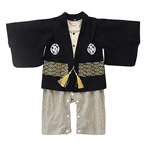 Hooyi Baby Toddler Boys Japanese Kimono Romper 2-Piece Set Children Costume Outfit (Black, 90(18-24month))
