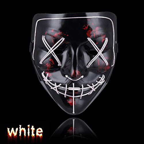 Halloween Mask LED Purge Mask for Festival Parties Costume White (White Glow In The Dark Contact Lenses)