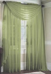 Solid Sage Green Sheer Scarf Valance 216\