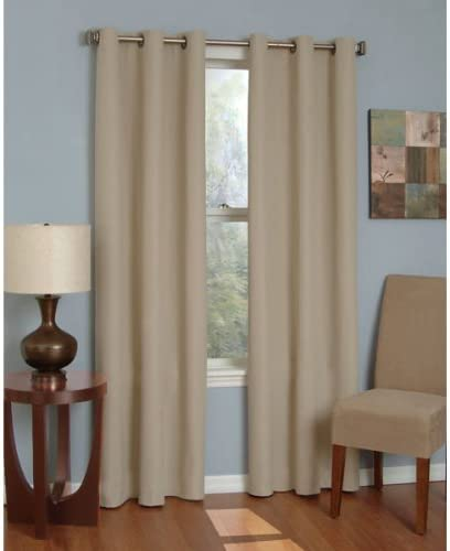 84 Long Beige Microfiber Eclipse Thermaback Blackout Insulated Grommet Top Curtain Panel