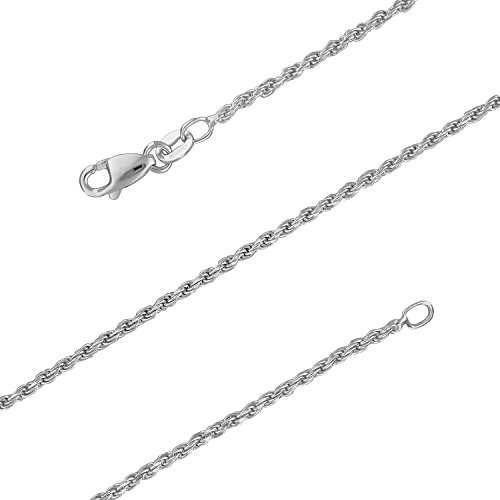 Sterling Silver 1.5mm Diamond-Cut Rope Chain Necklace Solid Italian Nickel-Free, 16 Inch - Hawaiian Rope