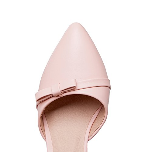 Metal Womens ASL04230 Buckles Pointed Bows Pumps Toe Urethane BalaMasa Pink Shoes 4BCExqdC