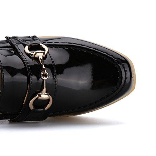 VogueZone009 Damen Rund Zehe Hoher Absatz Lackleder Rein Ziehen auf Pumps Schuhe Schwarz
