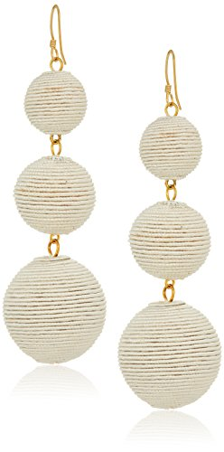 Kenneth Jay Lane White Thread Wrapped Ball Drop Earrings