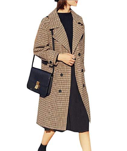 (Abetteric Women Classic Notch Lapel Skinny Merino Premium Plaid Duffle Coat Khaki S)