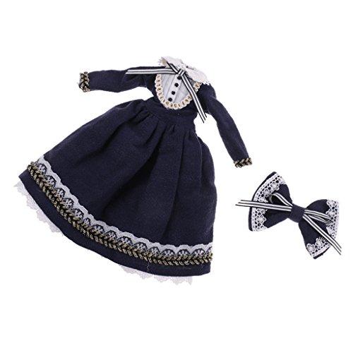 Prettyia 1/6 Scale Dress Hairclip Set Accessory for Blythe Azone Licca Doll Dark Blue