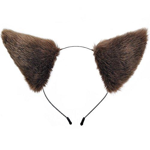 E-TING Cat Fur Ears Hair Clip with Headband