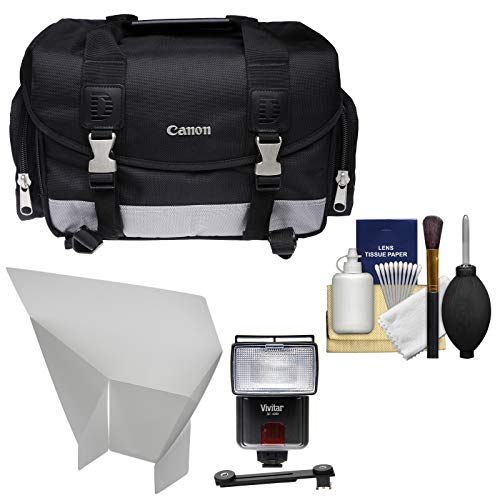 Canon 100DG Digital SLR Camera Case Bag with Flash + Reflector + Diffuser + Cleaning Kit for T6s, T6i, T7i, EOS 77D (Canon Weatherproof Camera)