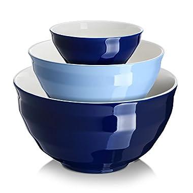 DOWAN Ceramic Mixing Bowls/Serving Bowl Set, Set of 3, Easy Storage Prep Bowl