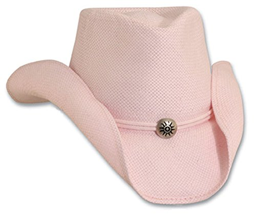Small/Medium Pink Soft Toyo Western Hat with Chin Cord - Straw Toyo Western Hat