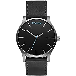 MVMT Watches Silver Case with Black Leather Strap Men's Watch