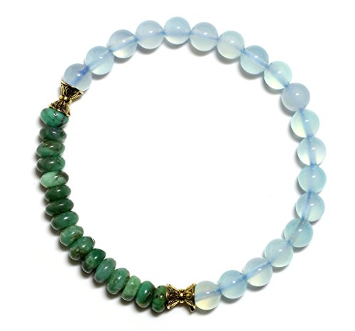 Raviga Handmade Myanmar Style 6MM Gemstone Stretch Bead Bracelet Blue Chalcedony Large