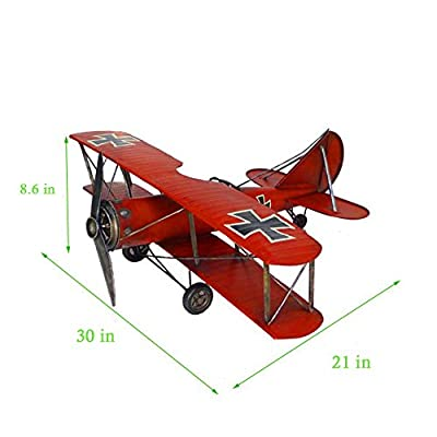 German Fokker Dr.1 - Metal Red Baron Air plane - Classic Aircraft Model - 23 inches