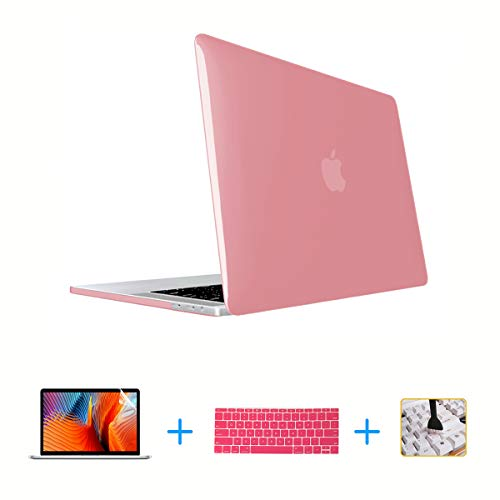 VAESIDA Laptop Case,Plastic MacBook Case,Hard Shell Cover, Keyboard Cover, Screen Protector for MacBook Pro 15 Inch Case 2018 2017 2016 Release A1990/A1707 Touch Bar Models (Crystal Pink)