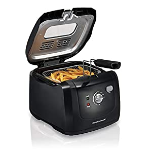 Hamilton Beach Cool-Touch Deep Fryer, 8 Cups / 2 Liters Oil Capacity, Lid with View Window, Basket with Hooks, 1500…