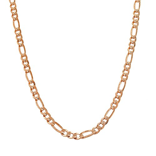 14k Rose Gold Figaro 060 2.50MM 16'' Chain by Decadence