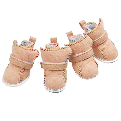 Elevin(TM)4Pcs Cute Fancy Dress Up Pet Dog Chihuahua Breathable Sport Pawks Boots Puppy Snow Warm Boots Shoes for Small Dog (2, Khaki)