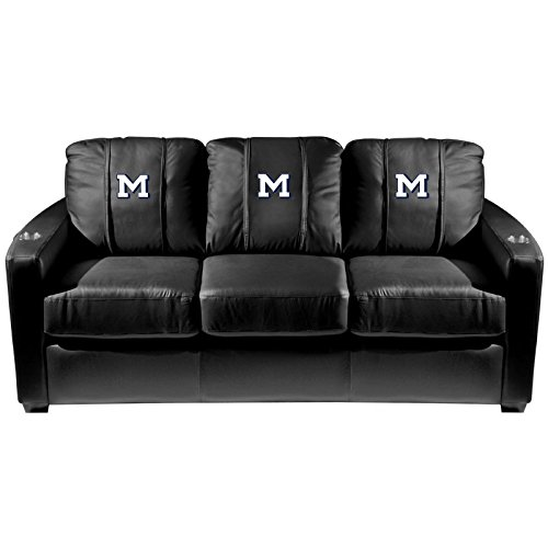 XZipit College Silver Sofa with Colorado School of Mines M Logo Panel, Black