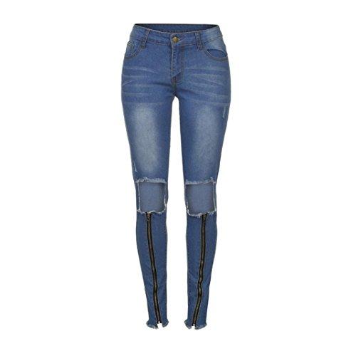 Ginocchio Femminili Donna Pantaloni Skinny Autunno Jeans Del Grandi Strappati Estate Primavera styledresser Blu Stirata Donne Slim AzvfUq