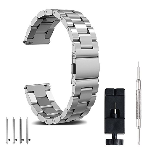 (18mm Watch Band, amBand Quick Release Premium Solid Stainless Steel Metal Business Replacement Bracelet Strap for Men's Watch, Silver)