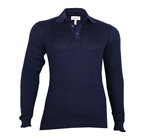 Brioni Men's Blue Cashmere Silk Polo Sweater, size S (48)