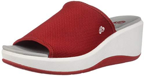 (CLARKS Women's Step Cali Bay Sandal red Textile Knit 070 M US)