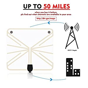 TV Antenna, Indoor Digital HDTV Antenna Amplified Signal Booster 50 Mile Range HD VHF UHF Freeview for Life Local Channels Broadcast for All Types of Home Smart Television