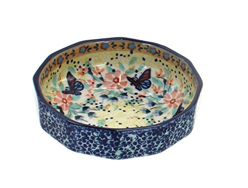 Angular Bowl - OKSLO Po pottery blue butterfly small angular bowl