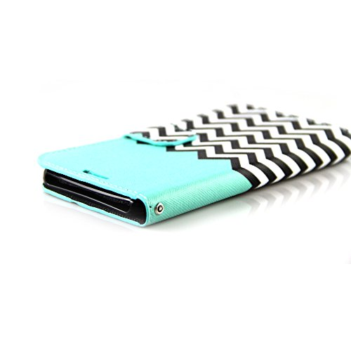 M9 Case,HTC One M9 Case, RANZ® Stylish Design Deluxe PU Leather Folio Flip Book Wallet Pouch Case Cover (Teal Waves) For HTC ONE M9 with Touch Stylus