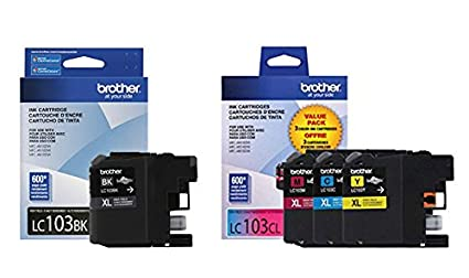 Brother LC103 Ink Cartridge (Black, Cyan, Magenta, Yellow, 4-Pack) in  Retail Packaging