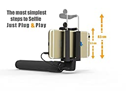 PerfectDay Self-portrait Monopod Extendable Wired Selfie Stick with built-in Remote Phone Holder for iPhone 6s 6 6 plus 5 5s 5c, Android Wired