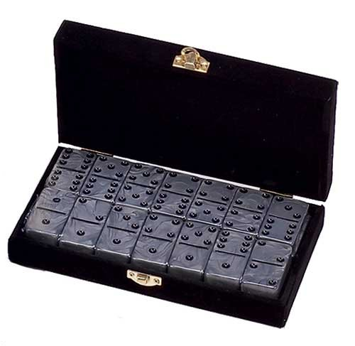 Domino Double 6 Silver Marbleized Tiles Jumbo Tournament Size