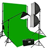 ePhoto Three Softbox 2700 Watt Photography Video Hair Boom Light Lighting Kit 10x12 Chromakey GREEN Muslin Background Support Stand Case Kit H604SB-1012G