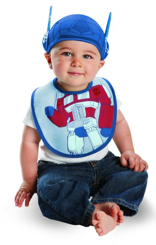 [Disguise Costumes Drool Over Me Transformers Optimus Prime Infant Bib and Hat  Accessory, Blue/Red, 0-6 Months] (Optimus Infant Costumes)