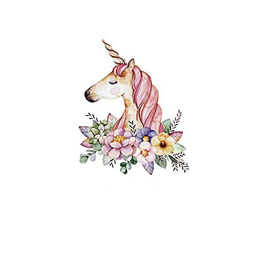 HMQD Unicorn Flower Patches Cartoon Iron On Transfer Sticker