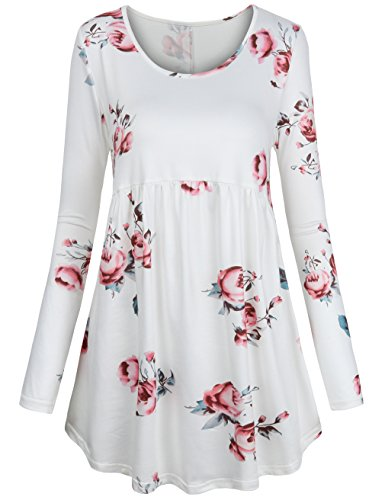 FANSIC Women Floral Tops,Short Sleeve Empire Waist A Line Flowy Tunics Blouses White and Pink