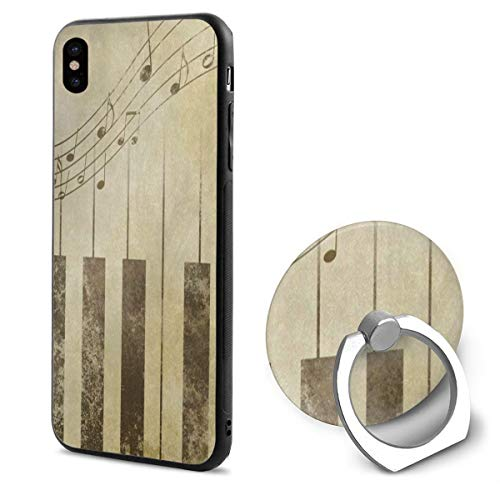 iPhone X Case Vintage Music Note Piano Sheet iPhone X Mobile Phone Shell Ring BracketTrendy ()