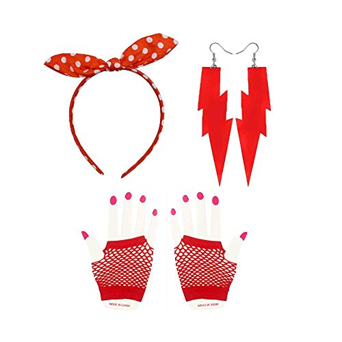 Women's 80s Costume Accessories,80's Lace Headband Neon Earrings Fingerless Fishnet Gloves (red 2 Headband) -