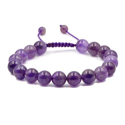 AD Beads Natural 10mm Gemstone Bracelets Healing Power Crystal Macrame Adjustable 7-9 Inch (8 Genuine Amethyst Stones)