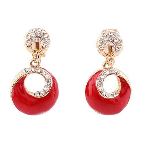 Grace Jun Gold Plated Rhinestone Enamel Round Shape Hollw-out Dangle Earrings for Women Ear Clip (Red clip-on) ()