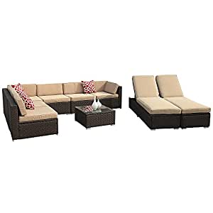 9pc Outdoor Conversation Set, PE Wicker Rattan Sectional Furniture Sofa Set with Beige Seat and Back Cushions, Red Throw Pillows, Aluminum Frame, Espresso Brown